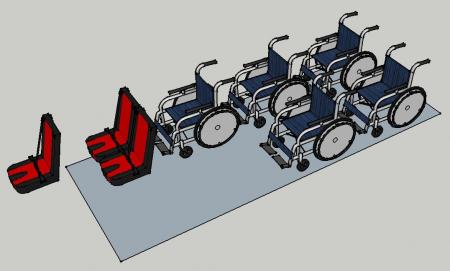 Mix of wheelchairs and seats